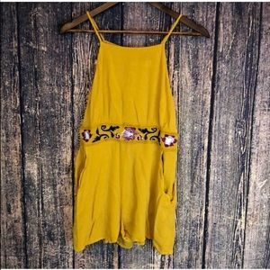 BLUE RAIN mustard yellow floral embroidered romper